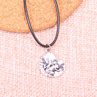 Wholesale easter lily charm resale online - New Durable Black Faux Leather Antique Silver mm frog on lily pad Pendant Leather Chain Necklace Vintage Jewelry Dropshipping