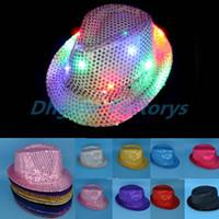 10 Colors LED Jazz Hats Flashing Light Up Led Fedora Trilby Sequins Caps  Fancy Dress Dance Party Hats Unisex Hip Hop Lamp Luminous Hat d567fc511dac
