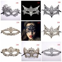 Wholesale venetian masquerade costumes for women resale online - 42 Styles Fashion Sexy Lady Lace Mask Black Cutout Eye Masks Colorful Masquerade Fancy Mask Halloween Venetian Mardi Party Costume