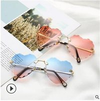 diamantes em forma de coração diamantes venda por atacado-A nova versão coreana de corte de borda em forma de pétala óculos de sol celebridade da web com os mesmos óculos de sol coração pêssego frameless diamante óculos 5503