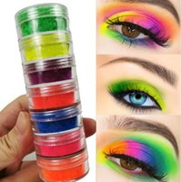 ingrosso ombretto sfavillante-7 colori Mix / set Neon Loose Powder Ombretto Pigmento Minerale Spangle Nail Powder Make Up Shimmer Shining Eye Shadow