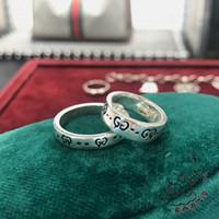 bijoux design venda por atacado-Design de marca Real 925 Sterling Silver Anéis Do Vintage para As Mulheres Homens Amantes Do Punk Moda Jóias Legal Crânio gg Anel Bijoux presentes