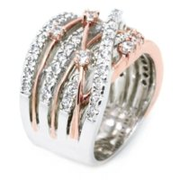jóia de moda de casamento de ouro rosa venda por atacado-Mossovy cruz rose gold separação zircão anel de noivado para a moda feminina strass anéis de casamento de prata para as mulheres de jóias