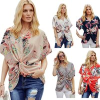 Wholesale clothing women usa for sale – custom Women Loose Floral Tops Blouse Pleated knot Boutique Europeam USA V neck Clothes T shirt batwing sleeve Twist Tee LJJA2628