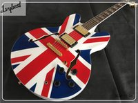 Wholesale white gold electric guitar resale online - Lvybest hollow body jazz electric guitar with flag decal rosewood fingeroboard solid white gold parts