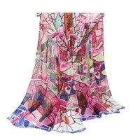 bufandas de georgette impresas al por mayor-Mujeres Gasa Georgette Shawl Wraps Bufandas Calidad Perfecta Cabeza Cuello Belleza Playa Protección Solar Suave Impreso Multicolor