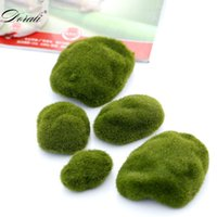 Wholesale decorative stones wedding for sale - Group buy 10pcs Sizes Artificial Moss Rocks Decorative Faux Green Moss Covered Stones