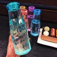 Wholesale glass travel mug resale online - Crystal Glass Water Bottle Fashion Travel Mug Sport Water Bottles Camping Hiking Kettle Drink Cup Diamond Gift