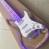 Wholesale beautiful guitars for sale - Group buy Electric Guitar Acrylic Crystal White Lighting High Quality Beautiful Guitar Customizable Chinese Electric Guitar