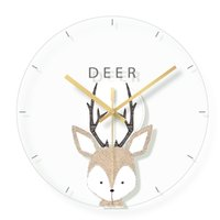 animaux de verre modernes achat en gros de-Bande Dessinée Cerf Décoratif Horloge Murale Design Moderne Muet Horloges En Verre De Quartz pour la Chambre Des Enfants Suspendus Horloge Murale Décor À La Maison