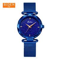 красивые стальные наручные часы оптовых-Часы женщины синий Байден Марка водонепроницаемый красивые часы мужской стальной ремень груза падения мода кварцевые часы женские Наручные часы