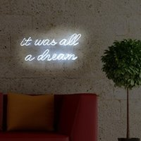 Wholesale neon sign window resale online - It Was All A Dream Neon Signs Real Glass Beer Bar Pub Party Room Garage Home Wall Windows Display Handcraft Dimmable Neon Light x9