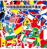 bayrak çıkartmaları toptan satış-Dizüstü Kask Kaykay Çıkartma Pad Bisiklet Motosiklet PS4 Telefon Notebook Çıkartması Pvc 50 adet / torba Mix Araba Etiketler Ulusal Bayraklar Ülke