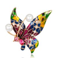 Wholesale jewelry brooch bouquet resale online - Vintage Insect Butterfly Brooch Pins Crystal Enamel Butterfly Bouquet Pearls Brooch Jewelry Male Women Party Gifts