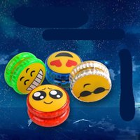 Wholesale plastic ball hole resale online - New Emoji Smiley Yoyo Led Ball Glowing Luminous Toy Colorful Kids Intelligence Toys For Christmas Children