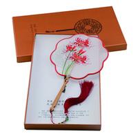 ingrosso nappe del ventilatore-Recenti nappa di seta Spilla Fan nuziale Fiori Cultura tradizionale regalo doppio ricamo a mano cinese Wedding Accessories