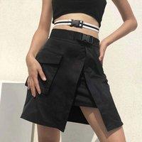 siyah plastik kayış toptan satış-Sonbahar Kış Kore Moda Etekler Ile Plastik Toka Kemer Bayan Streetwear Siyah Yüksek Bel Harajuku Etek