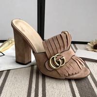 meistverkaufte high heels großhandel-Verkauf von Luxus-Hausschuhe Damenmode-Designer aus echtem Leder Sandalen 7,5 cm 10 cm hochhackige Hausschuhe Freizeitschuhe Flip-Flops Beste Qualität