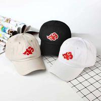 naruto hüte großhandel-Japanisches Akatsuki-Logo-Anime-Naruto-Vati-Hut 100% Baumwolle Uchiha-Familien-Logo-Stickerei-Baseballmützen-Schwarz-Hysteresenhüte dropship