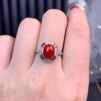 piedras preciosas de coral rojo al por mayor-Elegante anillo de piedras preciosas de coral rojo y collar con joyas de plata para mujeres