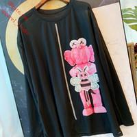 mulheres frisadas camiseta venda por atacado-2019 marca T-shirt de manga comprida protetor solar T-shirt Preto bordado frisado Camisola casual Tee camisas mulheres verão roupas femininas BC-7
