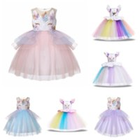 Wholesale free baby clothes online - Baby girls unicorn dress children TUTU lace Tulle princess dresses cartoon summer Boutique kids Clothes colors MMA1565