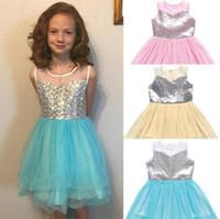 bebê usa lantejoulas venda por atacado-Bebê meninas vestido de lantejoulas princesa vestido de baile vestidos de festa bowknot verão casual dress vestido de irregularidade sem mangas kka6855
