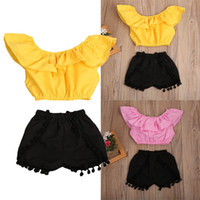 Wholesale kids yellow tank top resale online - 2pcs Baby Kids Girl Ruffle Off Shoulder Tank Tops Tassles Shorts Outfit Clothes Set Yellow Pink Summer Clothing Y