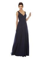 resmi uzun gelinlik elbiseleri toptan satış-2019 Tasarımcı Gelinlik Modelleri Uzun V Yaka Aç Geri Dantel Draped Şifon Gelinlik Konuklar Için Parti Elbise Örgün Törenlerinde Hizmetçi Onur