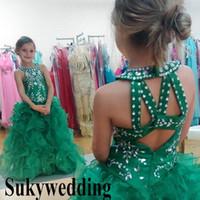 grüne paillettenröcke für mädchen großhandel-Sparky Green Girls Pageant Kleider Pailletten Perlen Glizta Cupcake Kleider Puffy Rock Kleinkind Kid Prom Party Kleider