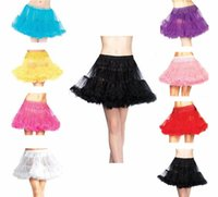 Wholesale rainbow petticoats resale online - Selling Colorful Rainbow Tulle Ruffle Puffy lolita Ball Gown Petticoats for Women Girl Elastic Waist Fashion Lady Dance Skirts