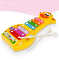 инструмент для фортепиано оптовых-Kid Baby 8-нота Ксилофон Фортепиано Музыкальный Производитель Игрушки Ксилофон Мудрость Музыкальный Инструмент Детский Сад Учебный инструмент детский подарок FFA2080