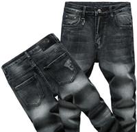 ingrosso vendita calda del ricamo-2019 Primavera e autunno Uomo ricamo Jeans slim jeans strappati strappati vintage strappati Jeans classici Jeans da uomo vendita calda 6456