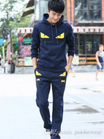 chándales con capucha al por mayor-Mens Casual Chándales Devil Eye Letter Print Sweateruits Hommes Jogger Jits trajes de ajuste Pollover Hooded Hoodies Pantalones largos Trajes