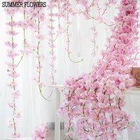 flores artificiales de cerezo vid al por mayor-200 cm Artificial flores de cerezo de la flor decoración de la boda DIY rota guirnalda simulación flores vine pared colgante corona KKA6968