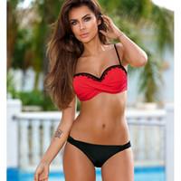 spitze plus größe badebekleidung großhandel-2019 neueste sexy bikini frauen badeanzug push up bikini set schnüren strand badeanzug plus size bademode badebekleidung