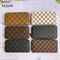 para klipleri toptan satış-Money Clips LandV classic 6colors fashion single zipper designer men women leather wallet lady ladies long purse