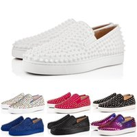 bottes de cuero al por mayor-2019 Nuevo diseñador de lujo de moda Low Red Bottom Studded Spikes Flats zapatos para hombres mujeres fiesta de cuero genuino zapatillas de deporte casuales 36-47