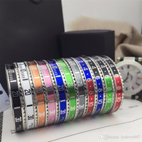 Wholesale 316l stainless steel jewelry links resale online - USpecial Italian Style L Stainless Steel cuff bracelet Speedometer Official Bracelet bangles Men silver plated Fashion Jewelry colors