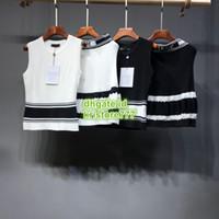 strick bedrucktes hemdkleid großhandel-Frauen gestrickte zweiteilige Kleid Buchstaben Print Tops gestrickte Pullover T-Shirt + Minirock Casual Dress Kintwear Sets