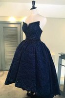 Wholesale two pieces asymmetrical prom dress for sale - Group buy 2019 New Navy Blue Lace Beaded Ho Lo Graduation Lace Dress Prom Dresses Ruffle Click Homecoming Dresses Sweet Party Dresses Evening Gowns