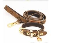 ingrosso collare di cane di grande corda di cuoio-manufatto per cani da passeggio per cani da passeggio in pelle di trazione modello colletto in pelle