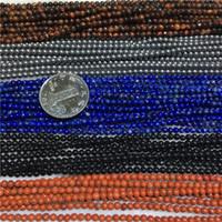 rohe steinperlen großhandel-3 MM 1Strand-128Pcs 100% Natürliche Tigerauge Stein Raw Lapislazuli Schwarze Perle Stränge Schmuck Lose Perlen
