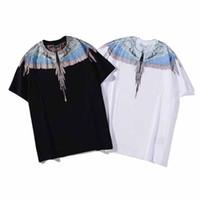 camisas de hombres estilos de italia al por mayor-Nuevo estilo casual de verano Marcelo Burlon T Shirt Wing Feather Hombres Mujeres Moda Italia Impresión 3D Streetwear Marcelo Burlon TShir