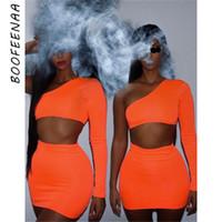 frau nacht setzt großhandel-BOOFEENAA Frauen Neon Bodycon 2 Stück Set Sommer 2019 High Street Night Out Club Outfits Passende Kurze Sets Crop Top Rock