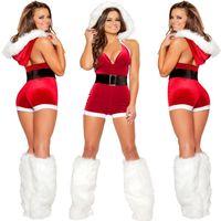 vestido de noiva sexy santa claus venda por atacado-Cosplay Natal Red Sexy Bodysuit Backless profunda V Neck Jumpsuit Fancy Dress Mulheres Santa Claus