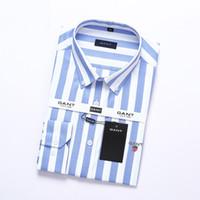 şeritli erkek kıyafeti gömlekleri toptan satış-T-erkekler gömlek çizgili Rahat Erkek Gömlek Erkek Uzun Kollu Gömlekler Pamuk Gömlek Erkekler Gömlek Artı Boyutu Slim Fit