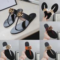 chinelos de couro feminino venda por atacado-Novas Mulheres Sandálias De Couro Sandálias Thong Flip Flops Chinelos Femininos Sandálias De Luxo Sandálias Tangas Mulher Com Caixa
