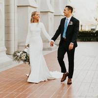 bescheidenes satin einfaches hochzeitskleid großhandel-2019 neue Meerjungfrau Brautkleider mit langen Ärmeln Boot-Ausschnitt Einfache elegante Frauen LDS bescheidene Brautkleider nach Maß