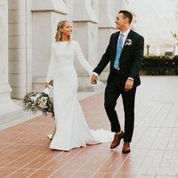 ingrosso barca fatta-2019 nuovi abiti da sposa a sirena con maniche lunghe collo collo semplici donne eleganti abiti da sposa LDS modesto Custom Made
